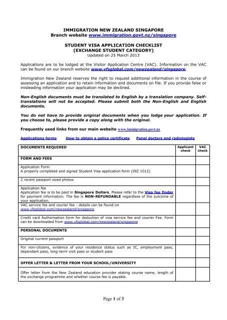 Visitors Checklist Vfs Global