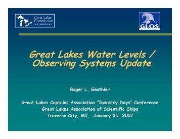 Water Levels and Observing systems Update - Great Lakes ...