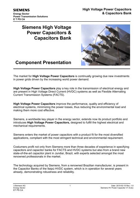 Siemens High Voltage Power Capacitors Capacitors Bank