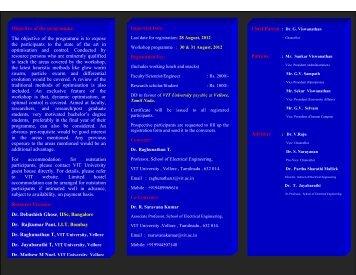"National Workshop on ""Recent Trends in ... - VIT University"