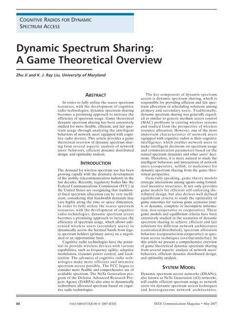 Dynamic Spectrum Sharing: A Game Theoretical Overview