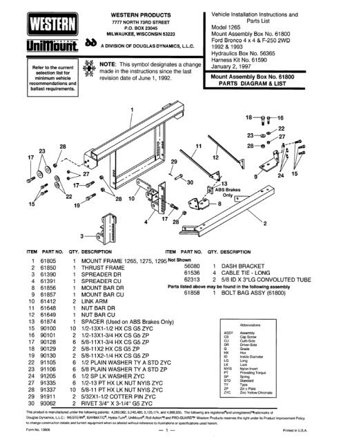 Western Unimount Plow Installation Instructions