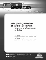 Changement, incertitude et gestion en éducation : regards sur ... - acelf