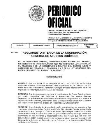 Reglamento Interior de la Coordinación General de Asuntos Jurídicos