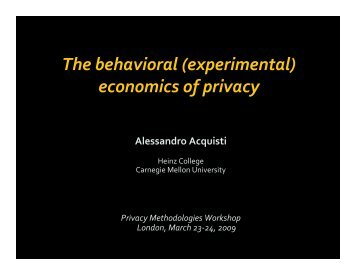 The behavioral (experimental) economics of privacy