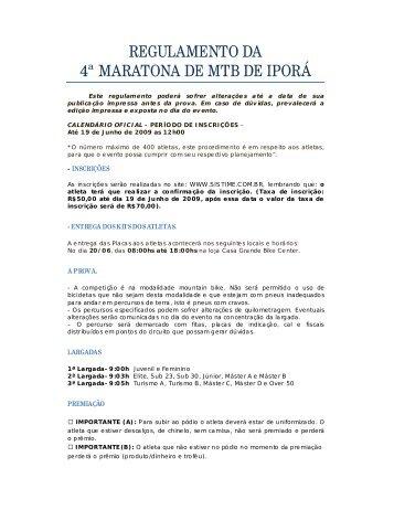 REGULAMENTO DA 4ª MARATONA DE MTB DE IPORÁ - Sistime