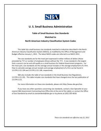 Table of Size Standards - SBA