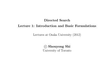 Directed Search Lecture 1: Introduction and Basic ... - Osaka University