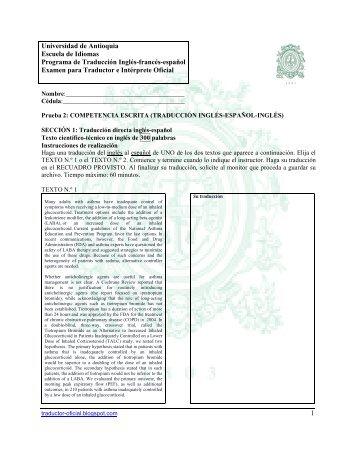 Modelo 2 Examen Traductor Oficial, inglés, escrito