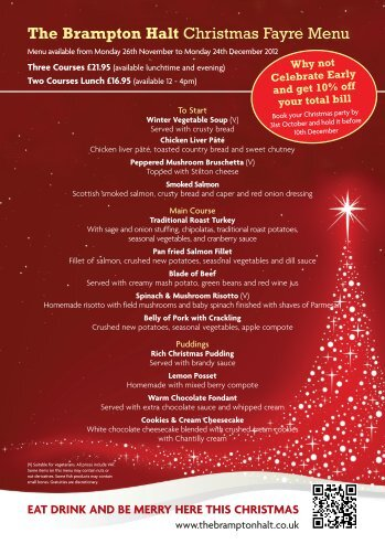 The Brampton Halt Christmas Fayre Menu - Mcmanus Pub Company
