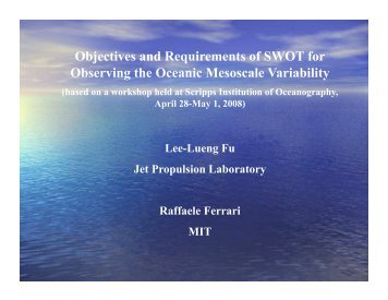 Objectives and Requirements of SWOT for Observing the ... - ECCO2