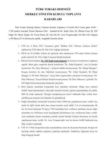 14 Eylül 2012 Merkez Yönetim Kurulu Toplantısı - Türk Toraks Derneği