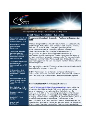 QuEST Forum Newsletter - June 2012