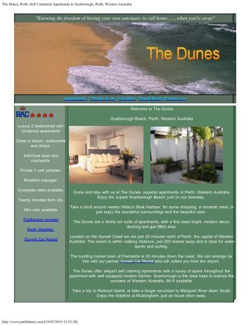 The Dunes, Perth, Self Contained Apartments in Scarborough, Perth ...