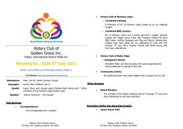 Bulletin 1026.pdf - Rotary Club of Golden Grove