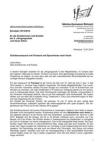 Bewerbung Fã¼R Den Schã¼Leraustausch Des Hgw Mit Finnland Und