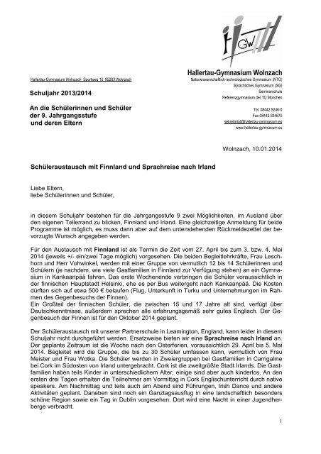Anschreiben Und Bewerbung Finnland Und Irland 201314 Dipane