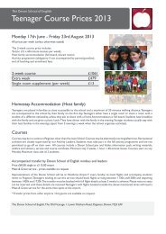 Teenager Course Prices 2013 - The Devon School of English