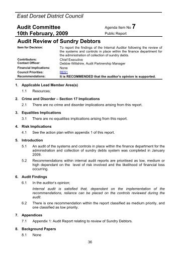 Audit Review of Sundry Debtors