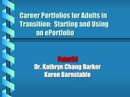 Career portfolios for adults in transition - FuturEd