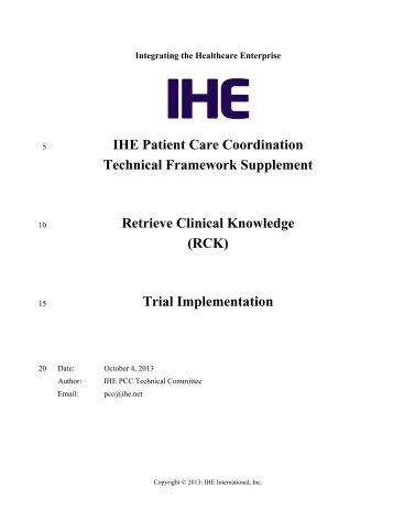 Retrieve Clinical Knowledge - IHE