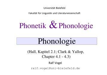 Phonologie: Grundbegriffe - Universität Bielefeld