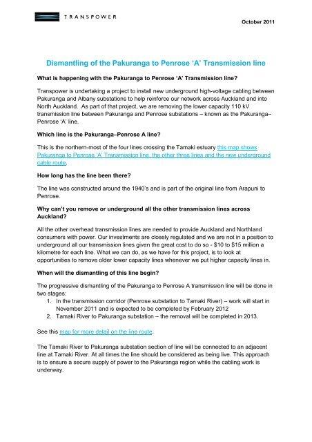 Overhead line removal Pakuranga to Penrose - Transpower