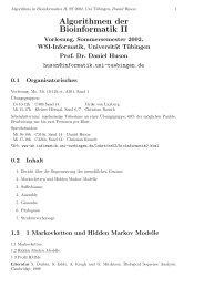 Algorithmen der Bioinformatik II - Algorithms in Bioinformatics ...