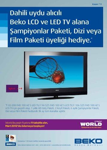 Dahili uydu alıcılı Beko LCD ve LED TV alana Şampiyonlar Paketi ...