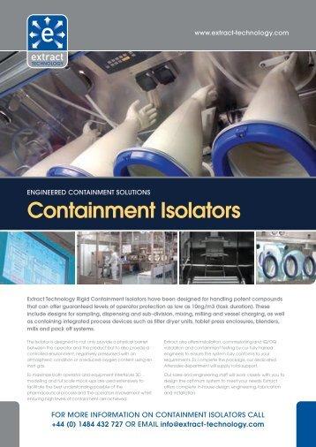 Containment Isolators Brochure - Extract Technology