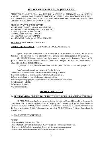 SEANCE ORDINAIRE DU 26 JUILLET 2011 - Arbois