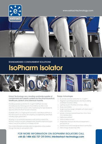 IsoPharm Isolator Brochure - Extract Technology