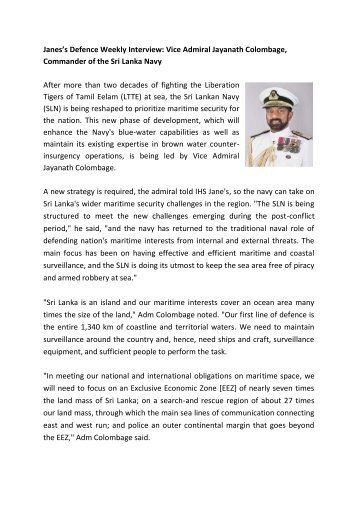 Janes's Defence Weekly Interview: Vice Admiral ... - Sri Lanka Navy