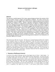 Religion and Urbanization in Ethiopia - Irmgard Coninx Stiftung