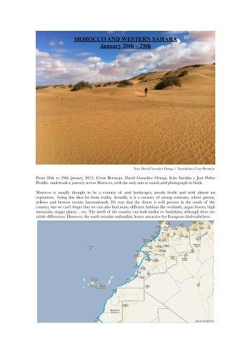 MOROCCO AND WESTERN SAHARA January 20th – 29th - Go-South