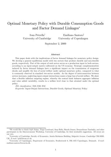 Optimal Monetary Policy with Durable Consumption Goods and ...