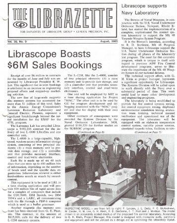 August, 1965 Librazette - Librascope Memories