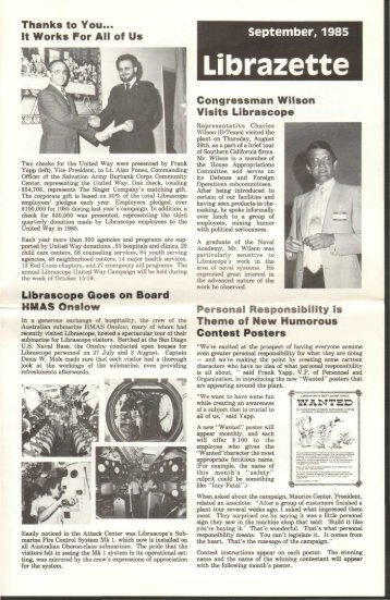 September, 1985 Librazette - Librascope Memories
