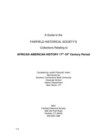 A Guide to the FAIRFIELD HISTORICAL SOCIETY S Collections ...