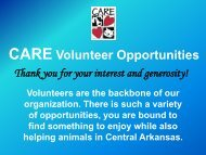 Check out our CARE Volunteer Overview - CARE for Animals, Inc