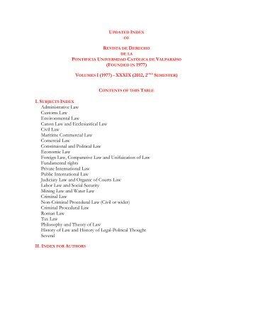 Updated and cumulative index of Revista de Derecho - Altavoz