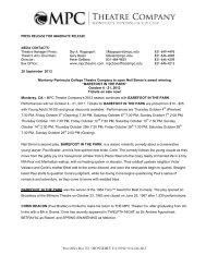 Press Release - MPC Theatre Company