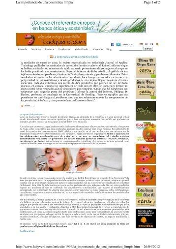 Page 1 of 2 La importancia de una cosmética limpia 26/04 ... - Inicio
