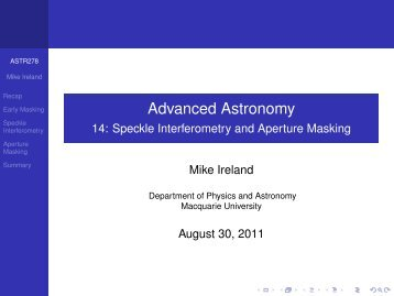 Advanced Astronomy - 14: Speckle Interferometry and Aperture ...