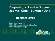 Download the slides - Office of Intramural Training and Education
