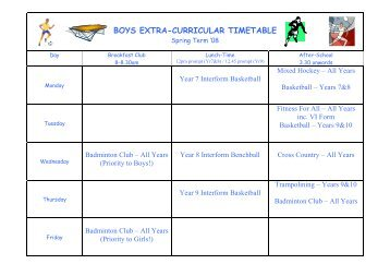 Sports Extra Curricular Timetable Spring '08 Boys and Girls