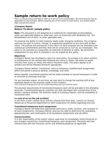 Sample return-to-work policy - SAIF Corporation
