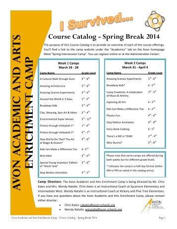Spring Break Camp Course Catalog 2014