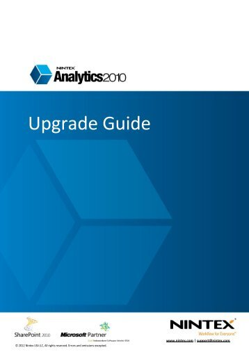 Nintex Analytics 2010 Upgrade Guide