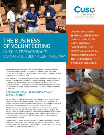 THE BUSINESS OF VOLUNTEERING - Volunteer Canada